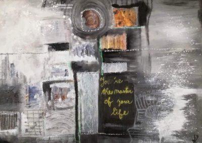 """""""Master of your life""""/ Kombinovaná technika na plátně/ 70 x 50 / 2018"""